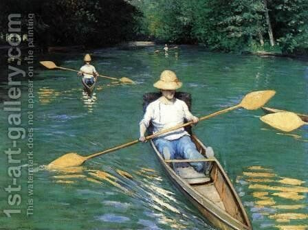 Canoeing on the Yerres by Gustave Caillebotte - Reproduction Oil Painting