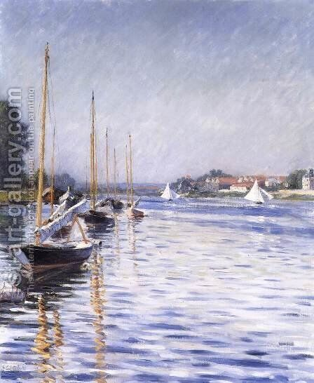 Boats on the Seine at Argenteuil 2 by Gustave Caillebotte - Reproduction Oil Painting