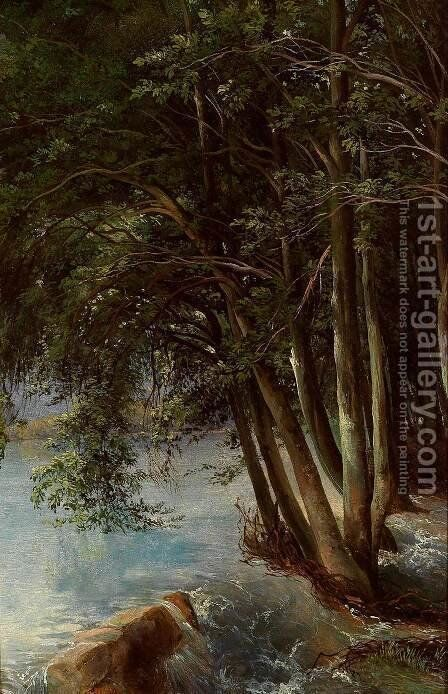 Trees at the Bank by Alexandre Calame - Reproduction Oil Painting