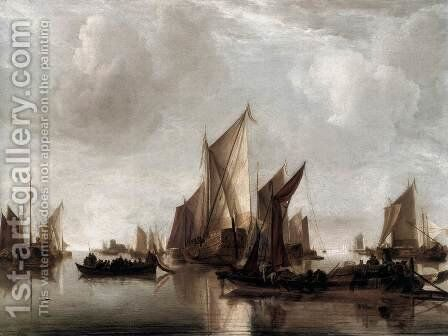 A State Yacht and Other Craft in Calm Water by Jan Van De Capelle - Reproduction Oil Painting