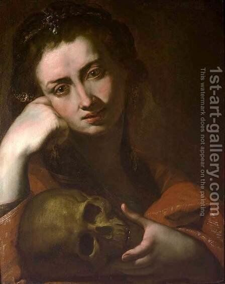 The Penitent Magdalen or Vanitas by Angelo Caroselli - Reproduction Oil Painting