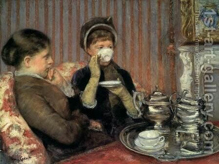Five O'Clock Tea by Mary Cassatt - Reproduction Oil Painting