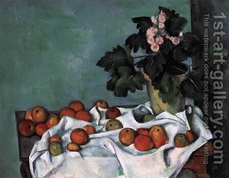 Still-Life with Apples and a Pot of Primroses by Paul Cezanne - Reproduction Oil Painting