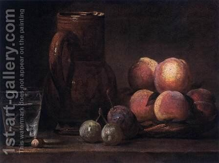 Fruit, Jug, and a Glass by Jean-Baptiste-Simeon Chardin - Reproduction Oil Painting