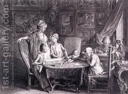 Self-Portrait with Family at the Table by Daniel Nikolaus Chodowiecki - Reproduction Oil Painting