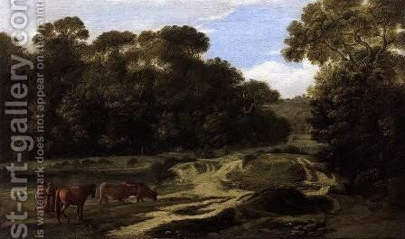 Forest Path with Herdsmen and Herd by Claude Lorrain (Gellee) - Reproduction Oil Painting