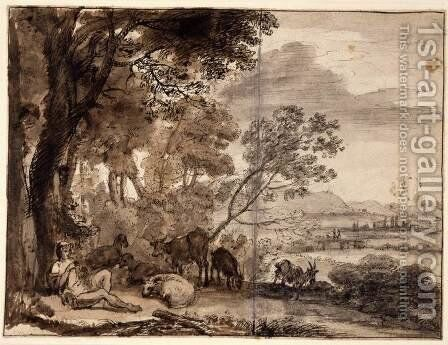 Landscape with a Goatherd by Claude Lorrain (Gellee) - Reproduction Oil Painting