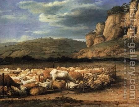 Flock of Sheep in the Campagna by Claude Lorrain (Gellee) - Reproduction Oil Painting