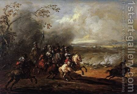 Cavalry Attack by Jacques (Le Bourguignon) Courtois - Reproduction Oil Painting