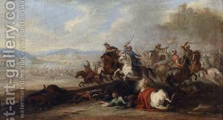 Cavalry Battle between Christians and Turks 2 by Jacques (Le Bourguignon) Courtois - Reproduction Oil Painting
