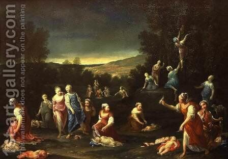 Sleeping Cupids Disarmed by the Nymphs by Giuseppe Maria Crespi - Reproduction Oil Painting