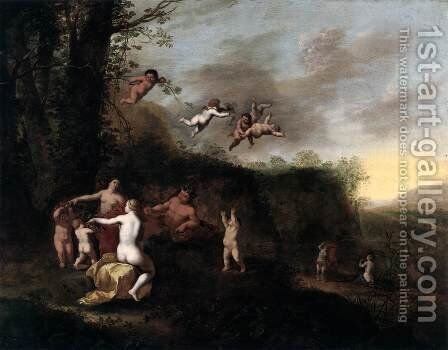 Bacchus and Nymphs in Landscape by Abraham van Cuylenborch - Reproduction Oil Painting