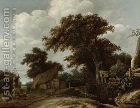 Landscape with Farmyard and Figure Drawing Water from Well by Cornelius Decker - Reproduction Oil Painting