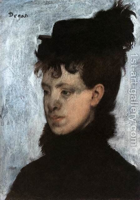 Girl with a Hat by Edgar Degas - Reproduction Oil Painting