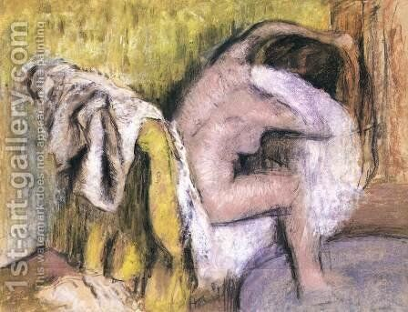 Woman Seated, Drying Herself by Edgar Degas - Reproduction Oil Painting