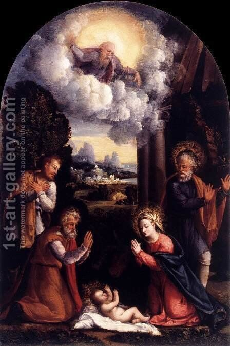 Nativity by Battista Dossi - Reproduction Oil Painting