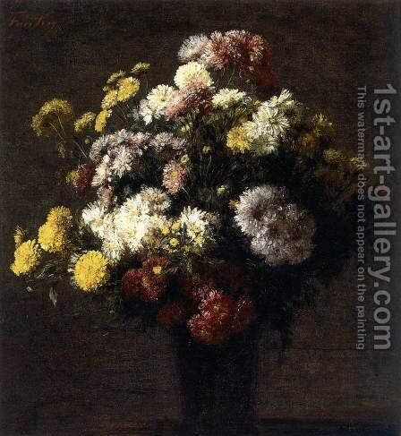 Chrysanthemums in a Vase by Ignace Henri Jean Fantin-Latour - Reproduction Oil Painting