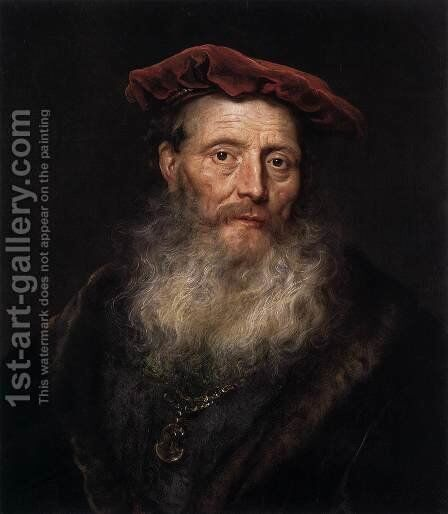 Bearded Man with a Velvet Cap by Govert Teunisz. Flinck - Reproduction Oil Painting
