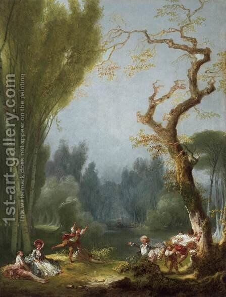 A Game of Horse and Rider by Jean-Honore Fragonard - Reproduction Oil Painting