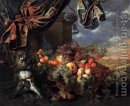 Still-Life with Fruit and Monkey by Jan Fyt - Reproduction Oil Painting