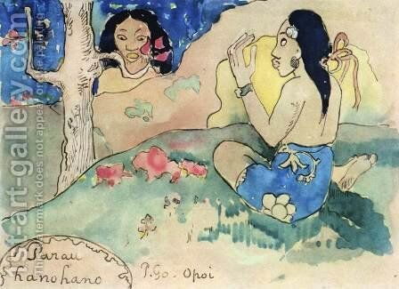 Parau Hanohano (Terrifying Words) by Paul Gauguin - Reproduction Oil Painting
