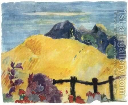 Parahi Te Marae (The Sacred Mountain) by Paul Gauguin - Reproduction Oil Painting