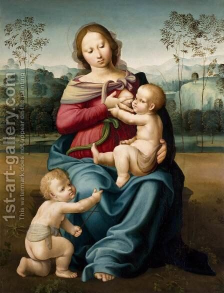 Virgin Nursing the Child with the Infant John the Baptist by Girolamo Genga - Reproduction Oil Painting