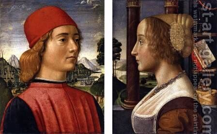 Portrait of a Young Man, Portrait of a Young Woman by Davide Ghirlandaio - Reproduction Oil Painting