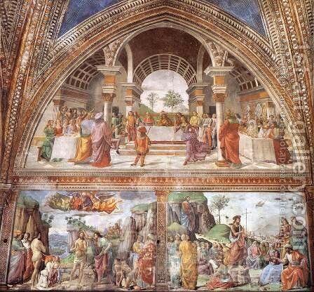 Right wall of the Tornabuoni Chapel (detail) by Domenico Ghirlandaio - Reproduction Oil Painting
