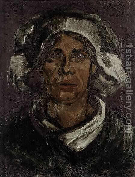 Head of a Peasant Woman with White Cap 3 by Vincent Van Gogh - Reproduction Oil Painting