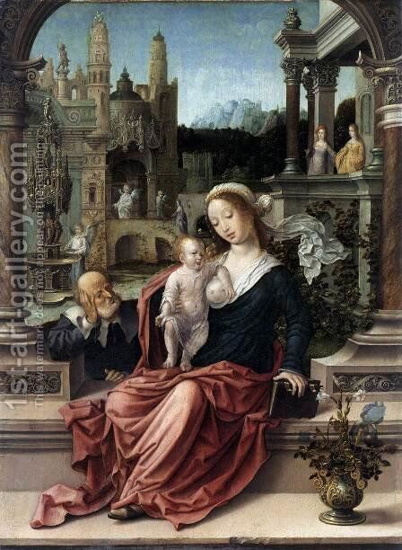 The Holy Family by Jan (Mabuse) Gossaert - Reproduction Oil Painting