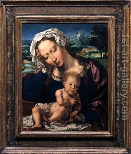 Virgin and Child in a Landscape by Jan (Mabuse) Gossaert - Reproduction Oil Painting