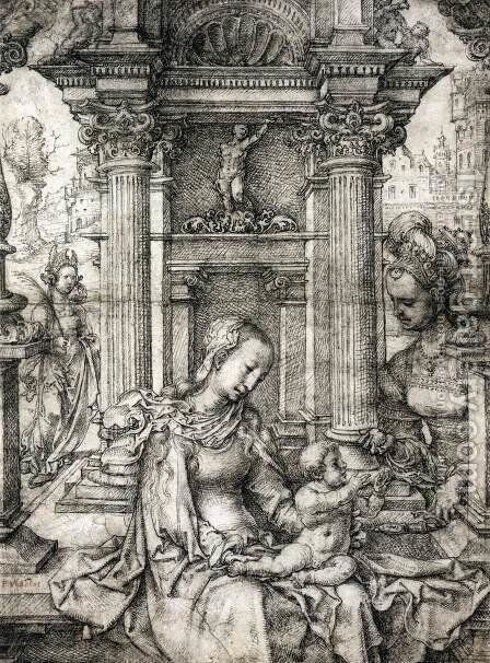 Virgin and Child with Sts Catherine and Barbara by Jan (Mabuse) Gossaert - Reproduction Oil Painting
