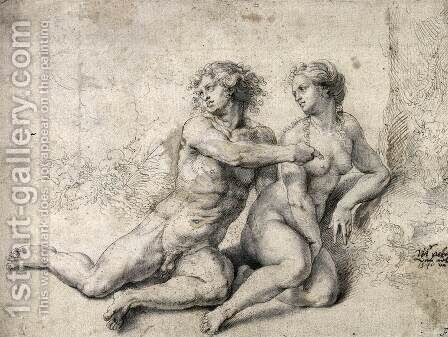 Adam Accuses Eve before God by Jan (Mabuse) Gossaert - Reproduction Oil Painting