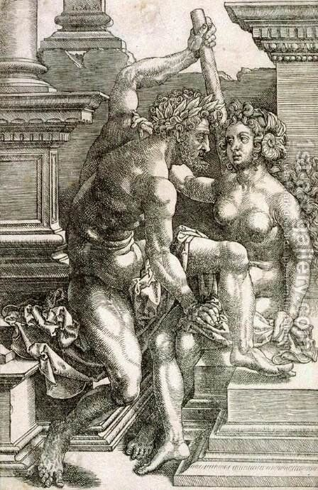 Hercules and Deineira by Jan (Mabuse) Gossaert - Reproduction Oil Painting