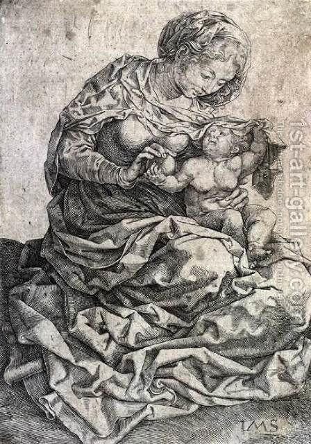 Virgin and Child Seated on a Bank by Jan (Mabuse) Gossaert - Reproduction Oil Painting
