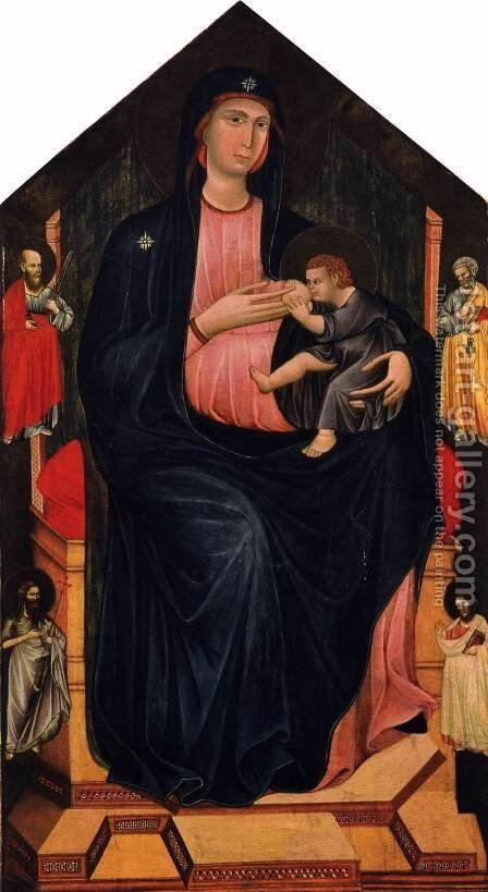 Virgin and Child Enthroned and Four Saints by Grifo Di Tancredi - Reproduction Oil Painting