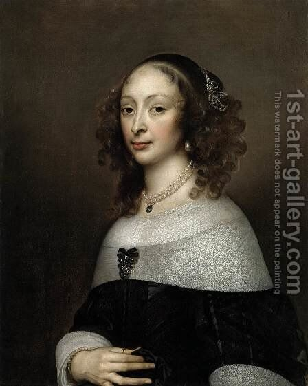 Portrait of a Woman 3 by Adriaen Hanneman - Reproduction Oil Painting