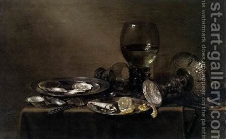 Still-Life with Oysters, a Silver Tazza, and Glassware by Willem Claesz. Heda - Reproduction Oil Painting