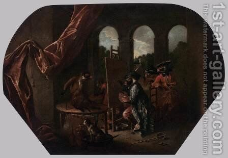 Singerie The Painter by Christophe Huet - Reproduction Oil Painting