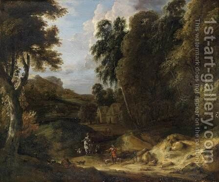Mountain Landscape by Jan Baptist Huysmans - Reproduction Oil Painting