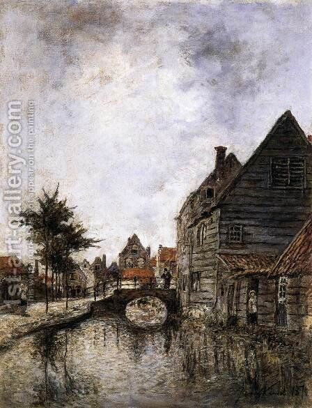 Inner Canal in Dordrecht by Johan Barthold Jongkind - Reproduction Oil Painting