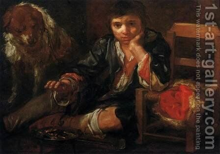 Boy Warming himself over Embers by Bernhard Keil - Reproduction Oil Painting