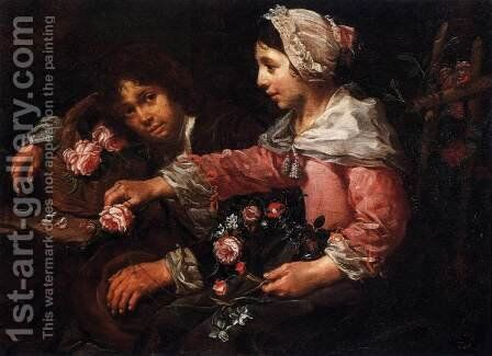 Girl Binding a Wreath of Flowers by Bernhard Keil - Reproduction Oil Painting