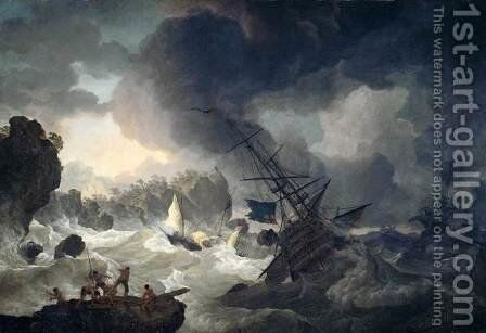 The Shipwreck by Hendrik  Kobell - Reproduction Oil Painting