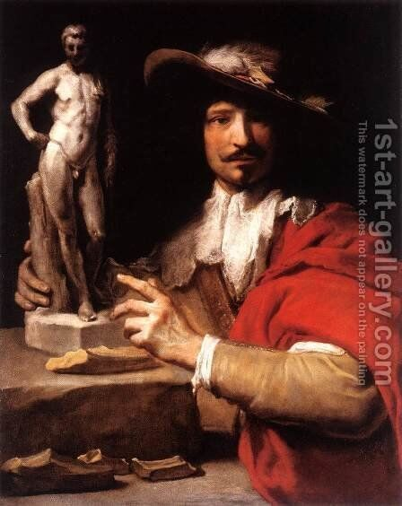 Portrait of the Sculptor Nicolas Le Brun by Charles Le Brun - Reproduction Oil Painting