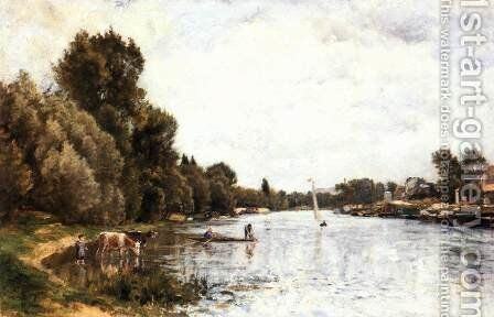 The Seine near Argenteuil by Stanislas Lepine - Reproduction Oil Painting