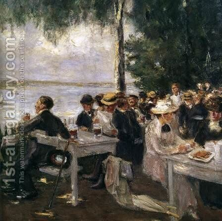 Garden Restaurant on the Havel (detail) by Max Liebermann - Reproduction Oil Painting