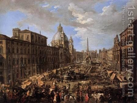 Market in the Piazza Navona in Rome by Andrea Locatelli - Reproduction Oil Painting