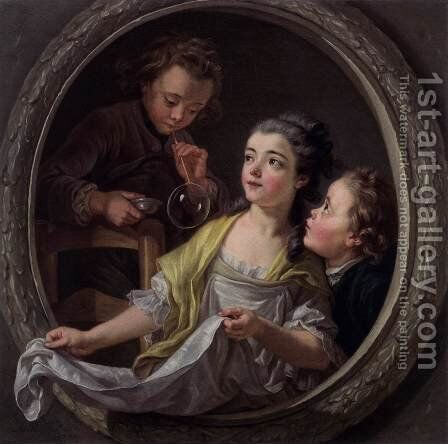 Soap Bubbles by Charles-Amedee-Philippe van Loo - Reproduction Oil Painting